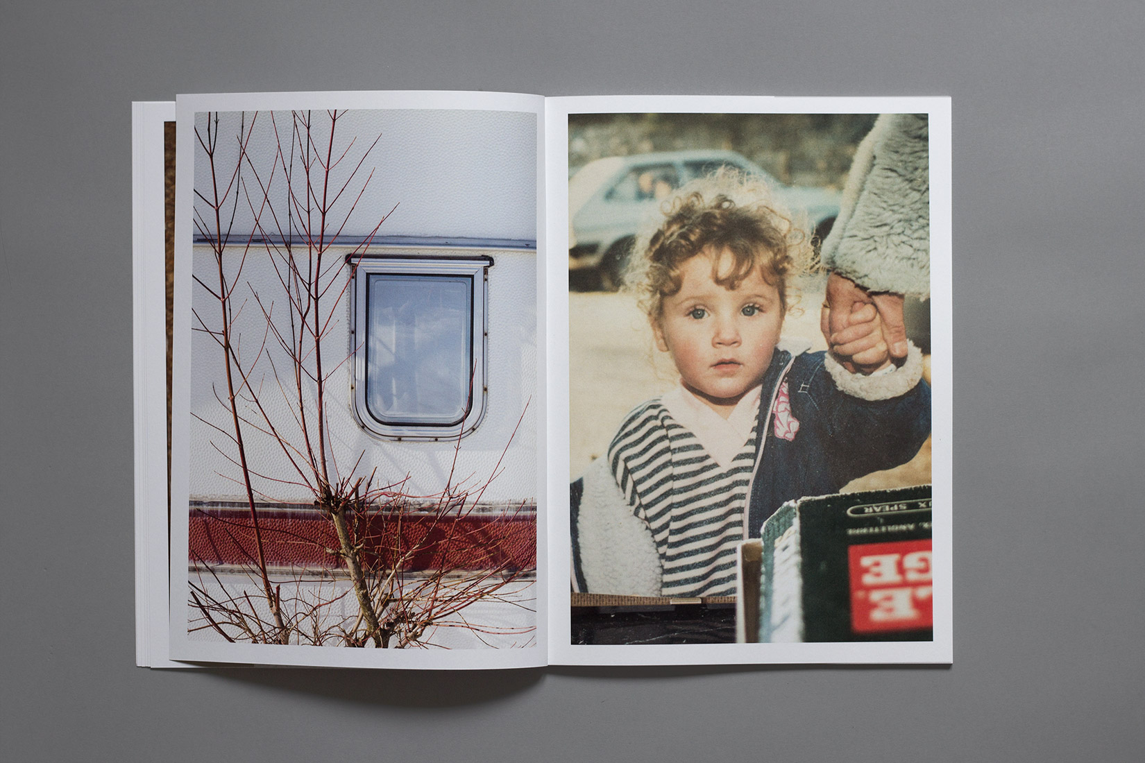Les Brenets - Camping, window of caravan, tree, portrait of young girl, book, photography