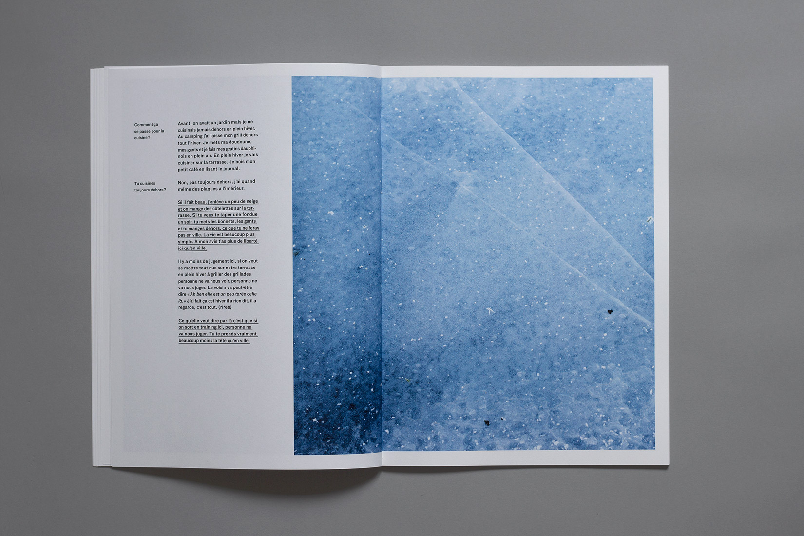 Lac des brenets - ice, detail, book, photography, interview