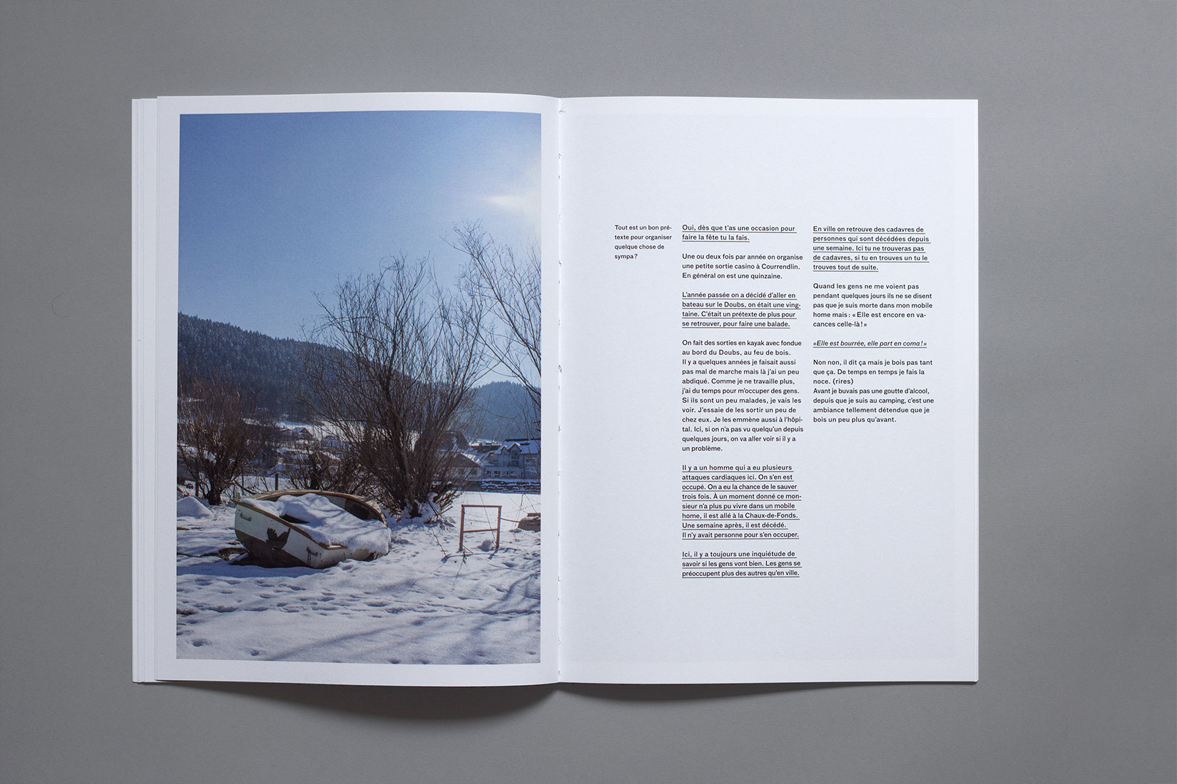 Lac des brenets - boat, winter, snow, book, photography