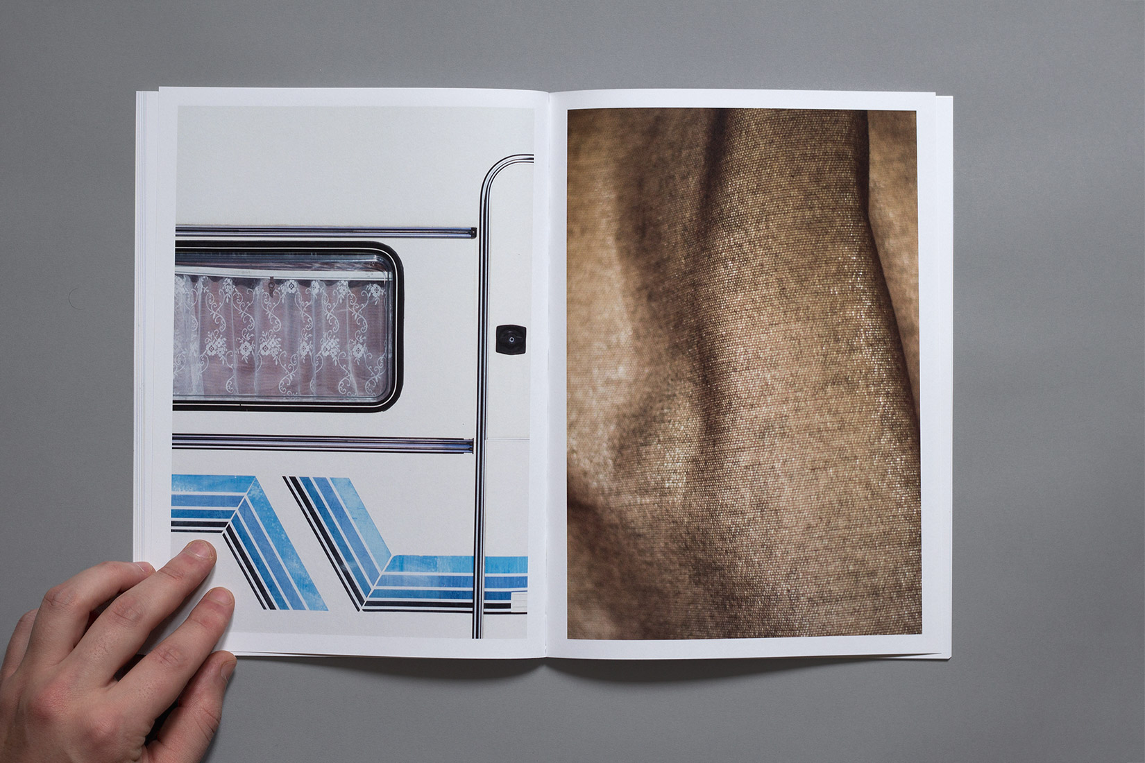 Les Brenets - Camping, detail, caravan, window, lines, geometry, curtains, book, photography