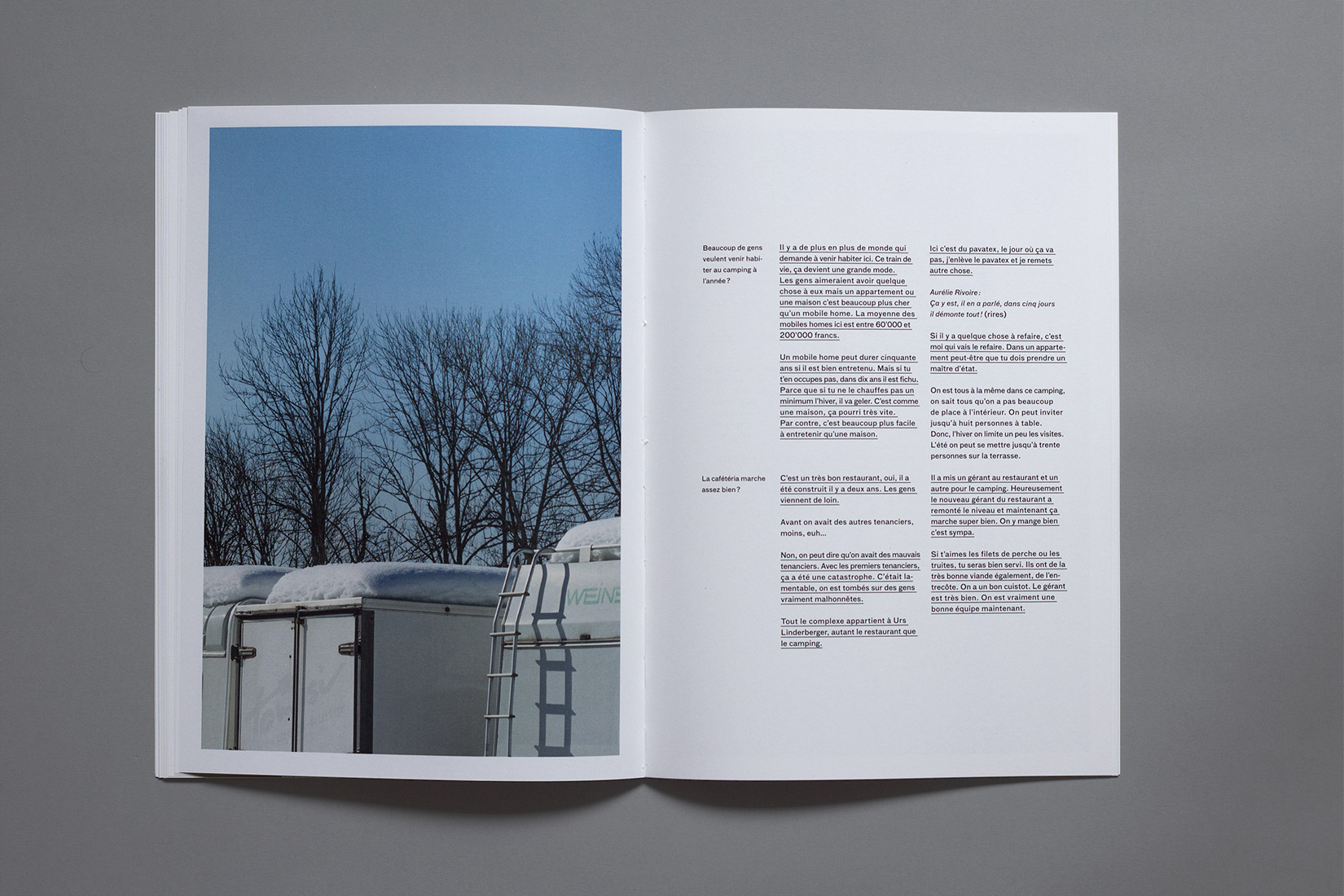 Les Brenets - Camping, caravans roof, interview, book, photography