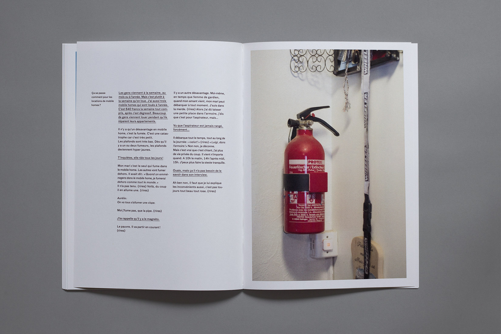 Les Brenets - Camping, indoor, small red fire extinguisher, book, photography