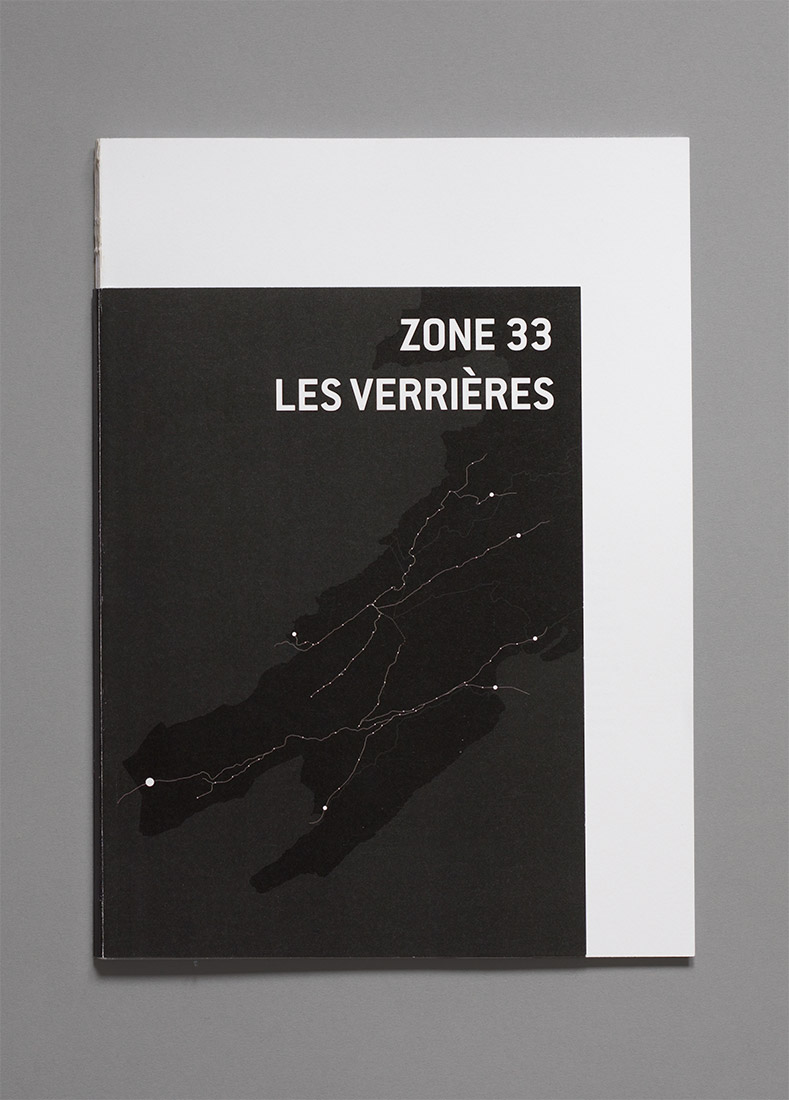 Les Verrières, diploma, graphic design, book, zone 33, cover, map