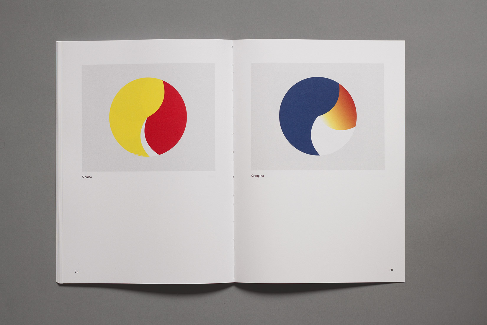 Graphisme Suisse, France, comparaison graphique, boissons, Sinalco, Orangina, cercles, surface, proportion de couleurs