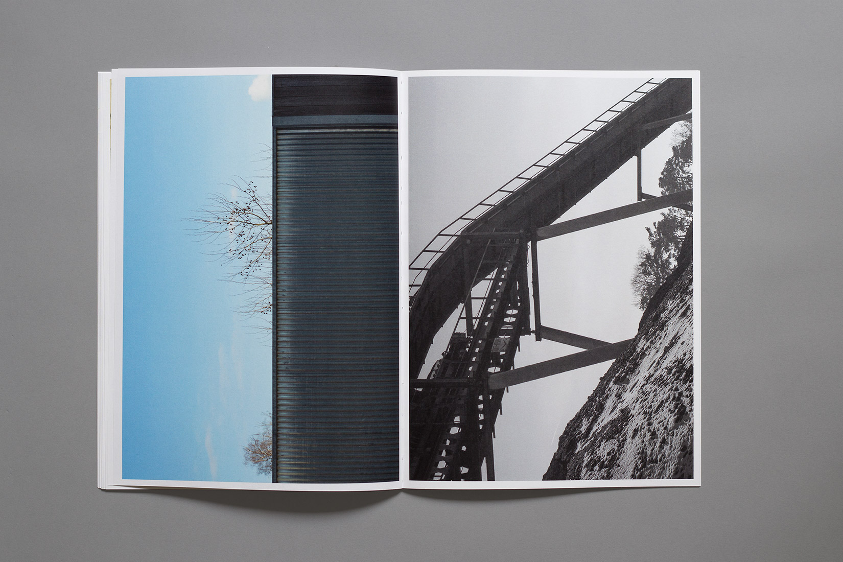 Zihlbrücke, diploma, book, graphic design, photography, geometry, factory Buhler Marin
