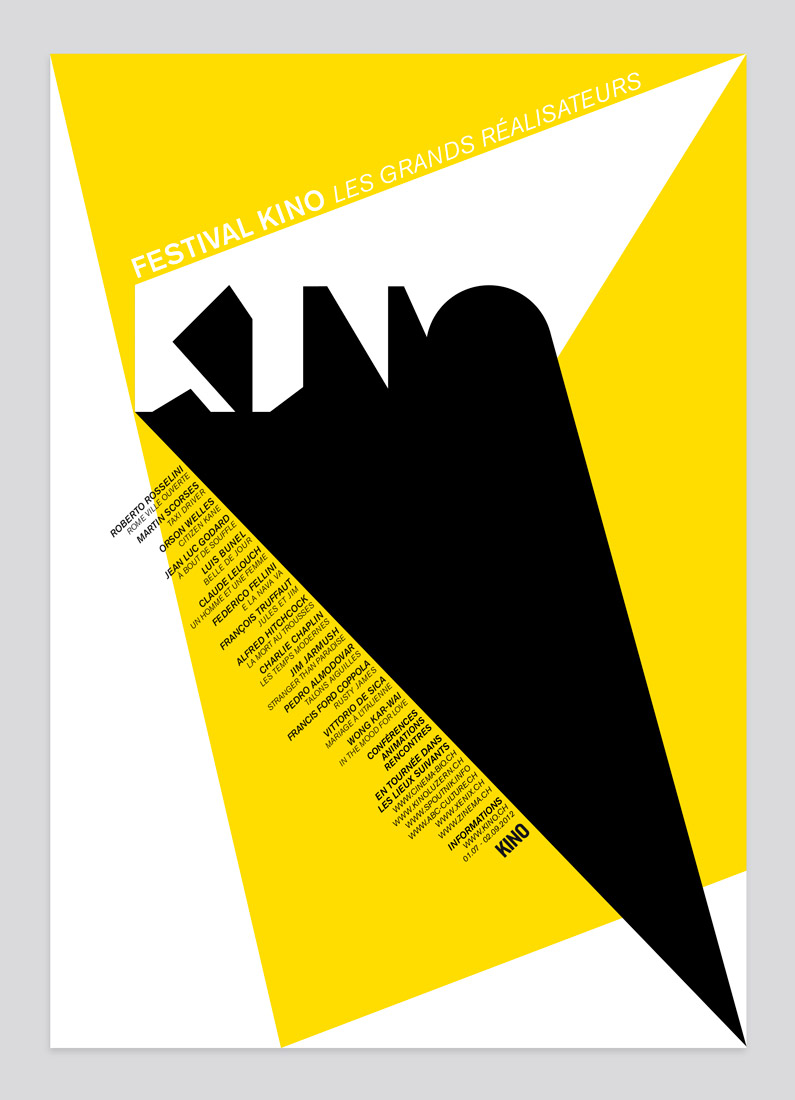 Kino festival, poster, graphic design, projection, typography, the great directors, rays, light