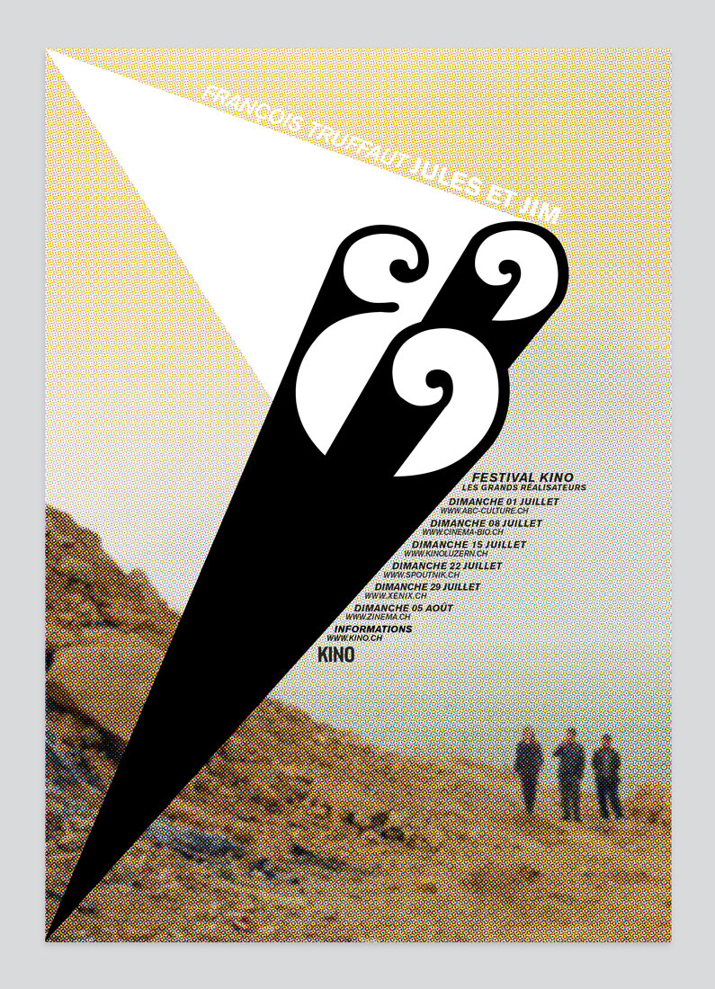 Kino festival, poster, graphic design, ampersand, typography, François Truffaut, Jules and Jim