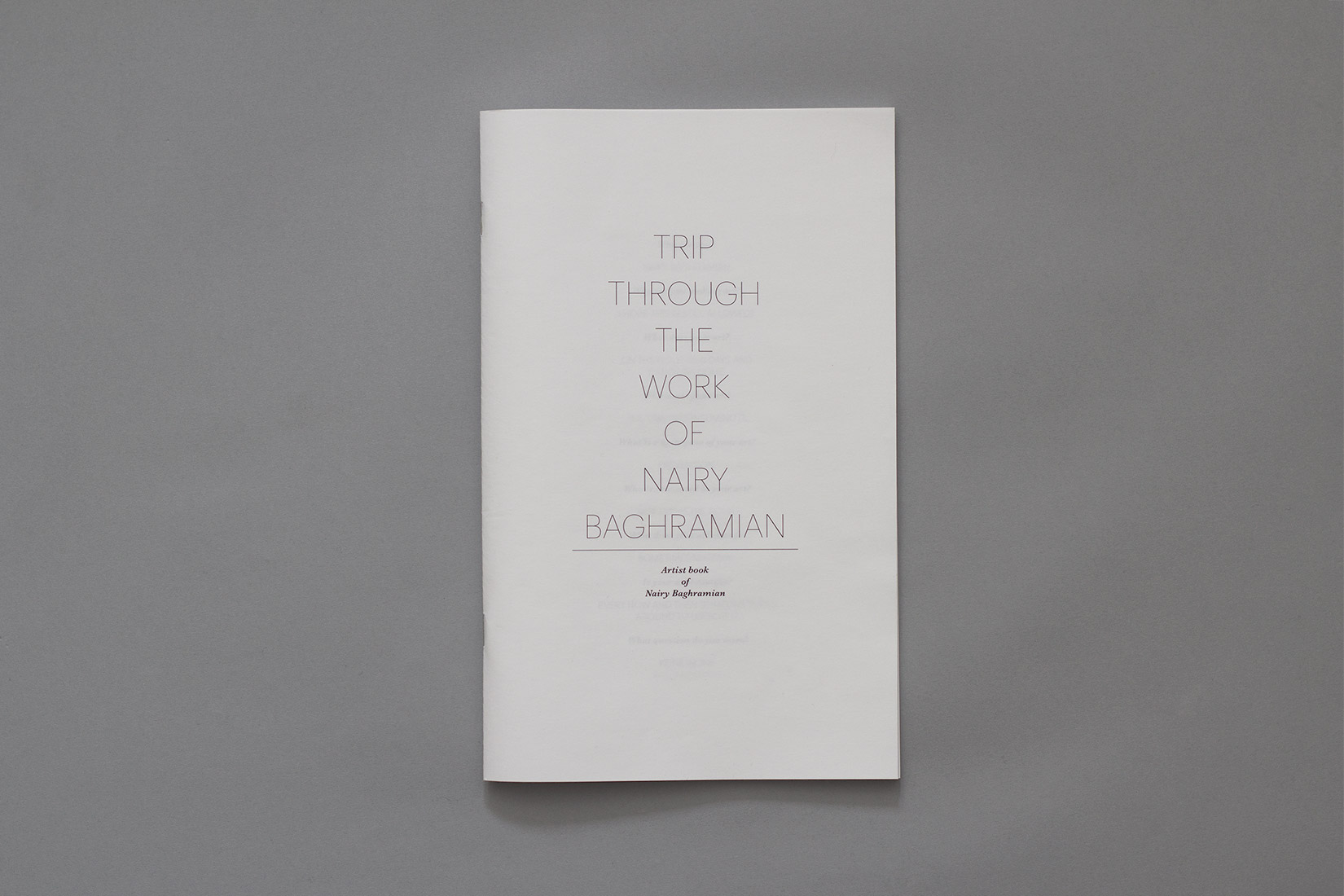 Livre d'artiste, Nairy Baghramian, typographie, Graphik, Baskerville, Trip through the work of Nairy Baghramian