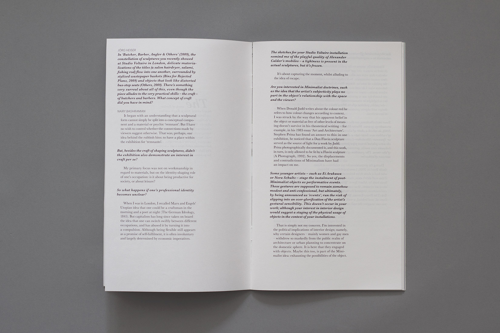 Mise en page, interview, livre d'artiste, Nairy Baghramian, typographie