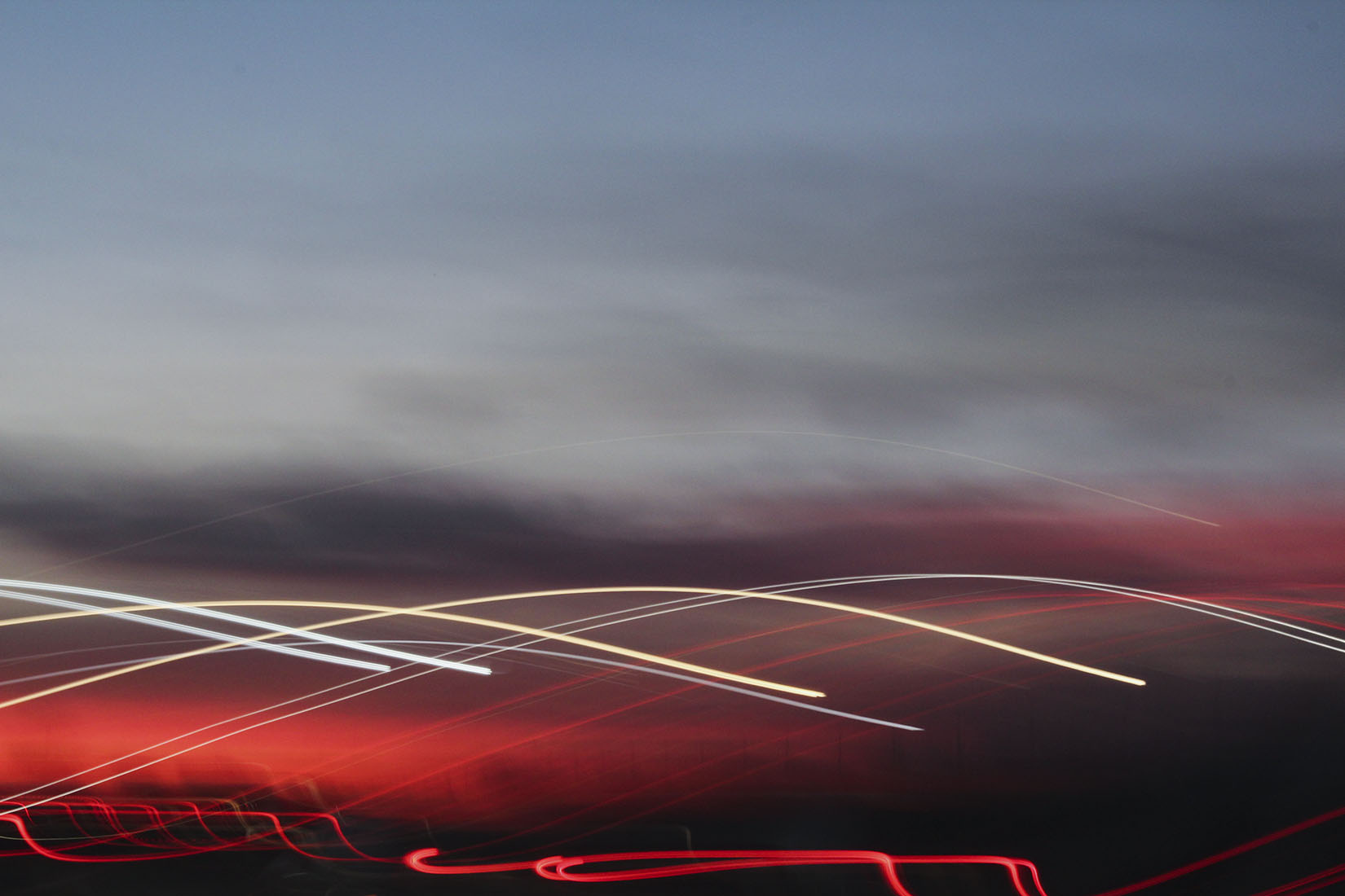 Light painting, sunset, highway, movement