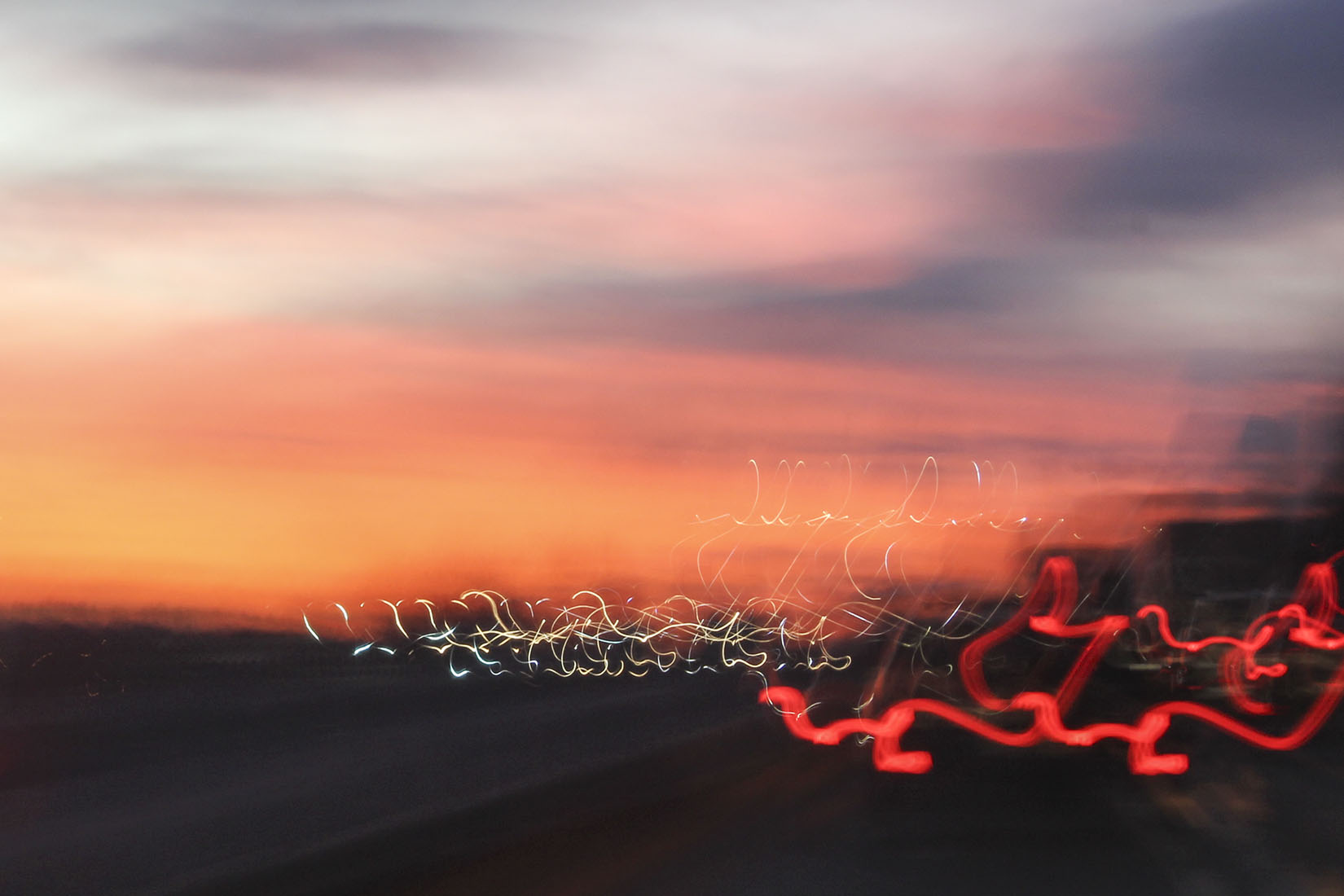 Light painting, sunset, road, movement