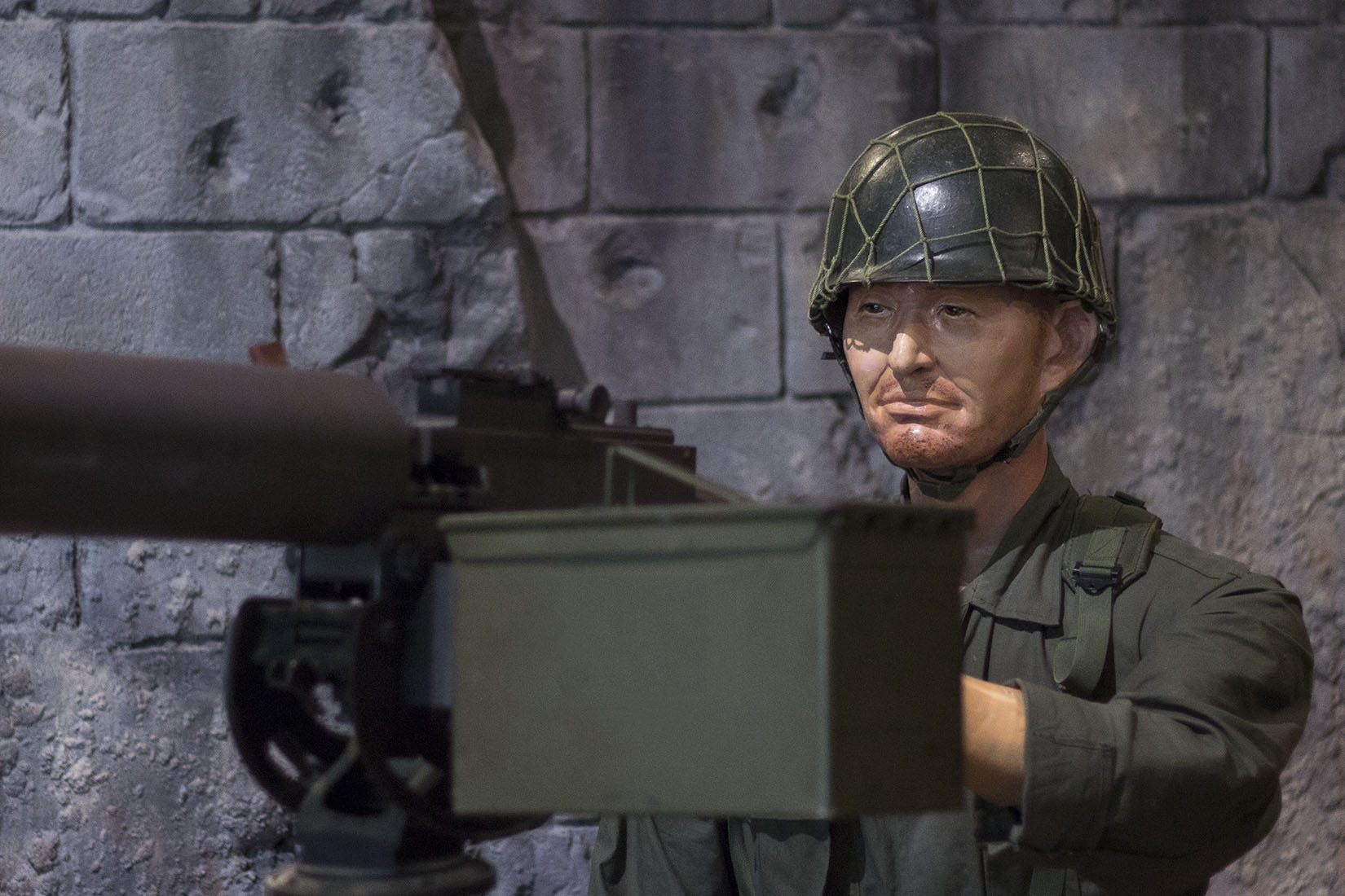 Soldier ready to shoot, South Korea, mannequin, concentrated, North Korea