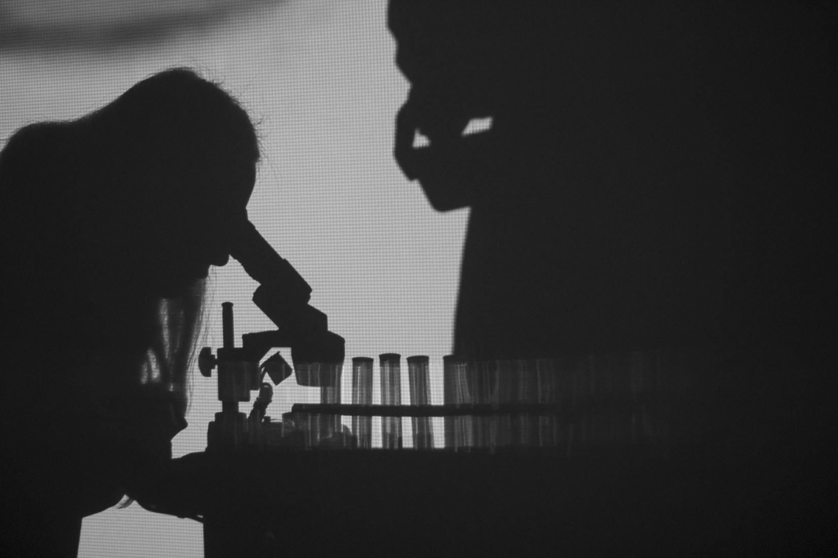 Woman with microscope, test tubes, contemporary art, installation, Scale Free Network, The Elaboratorium, silhouette, black and white