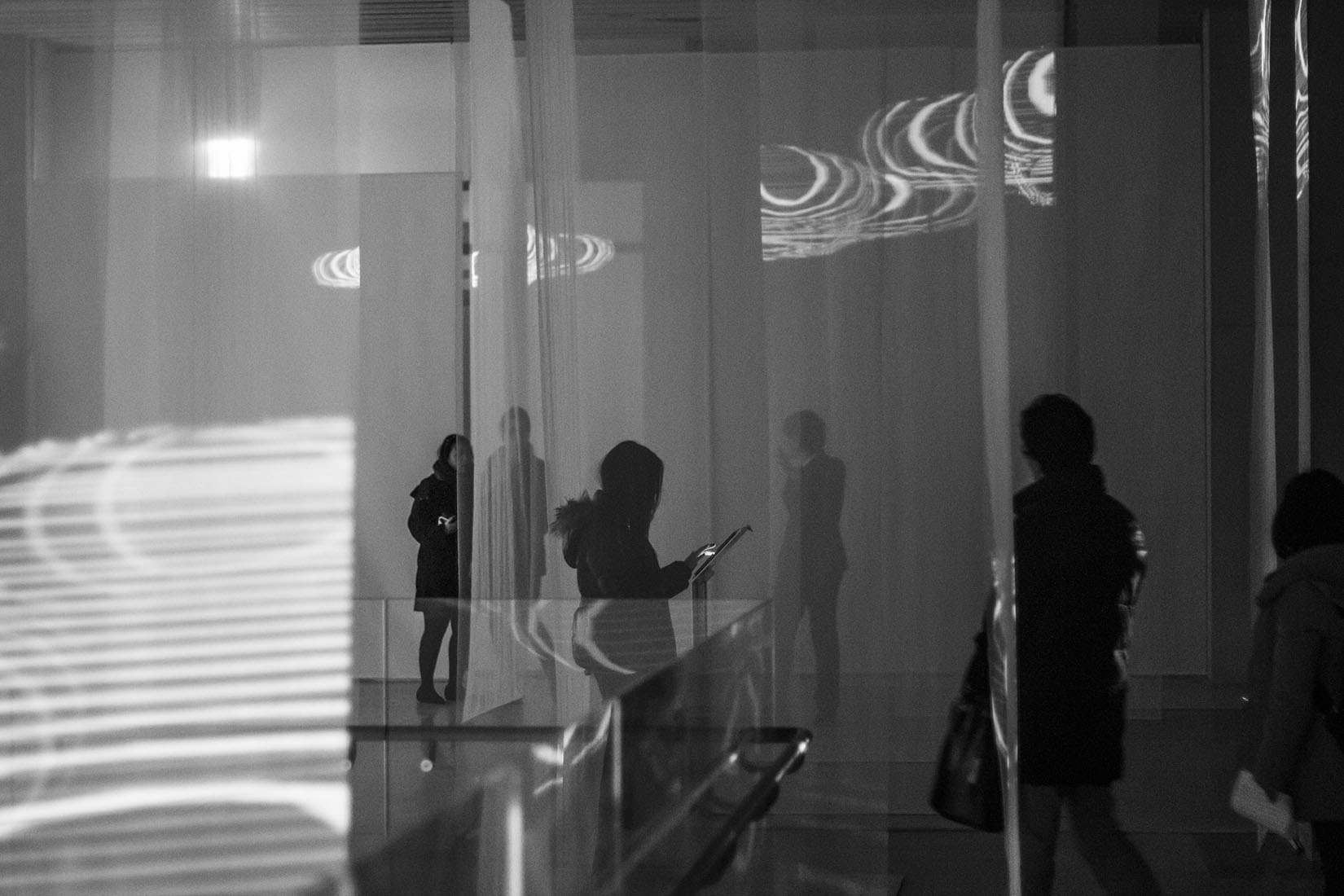 Silhouettes, museum, contemporary art, 3d projection, space, lights, installation