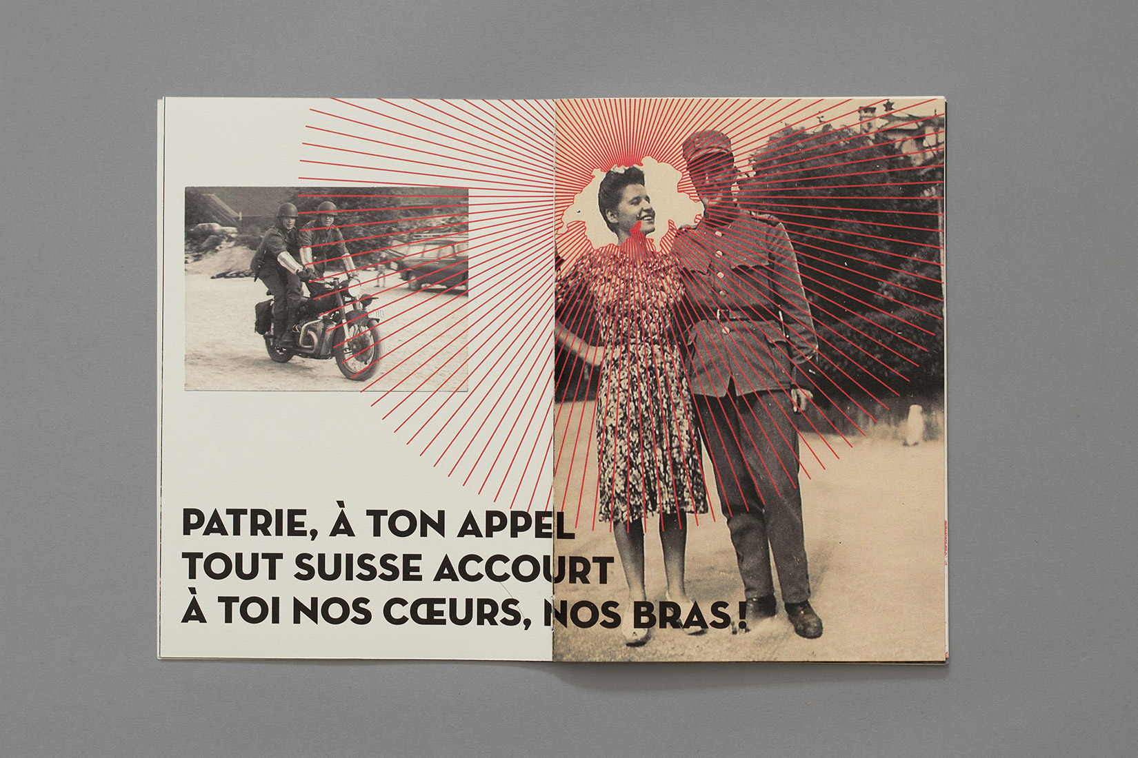 Manual for the perfect little soldier, military postcard, motorcycle, couple, switzerland, graphic design, Neutraface, Patrie à ton appel, tout suisse accourt, à toi nos coeurs, nos bras!