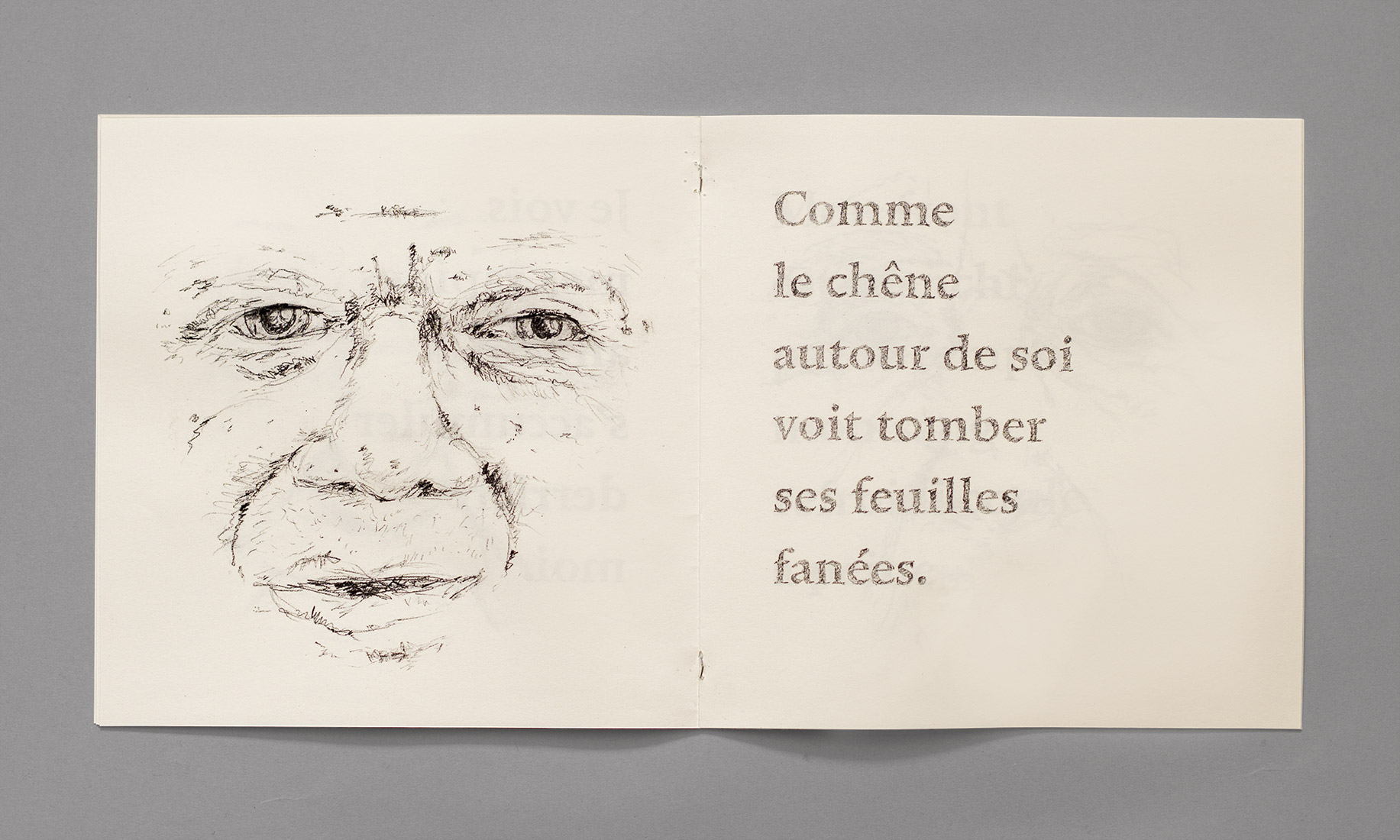 Face, old man, pencil drawing, poem of Lamartine, graphic design, poetry