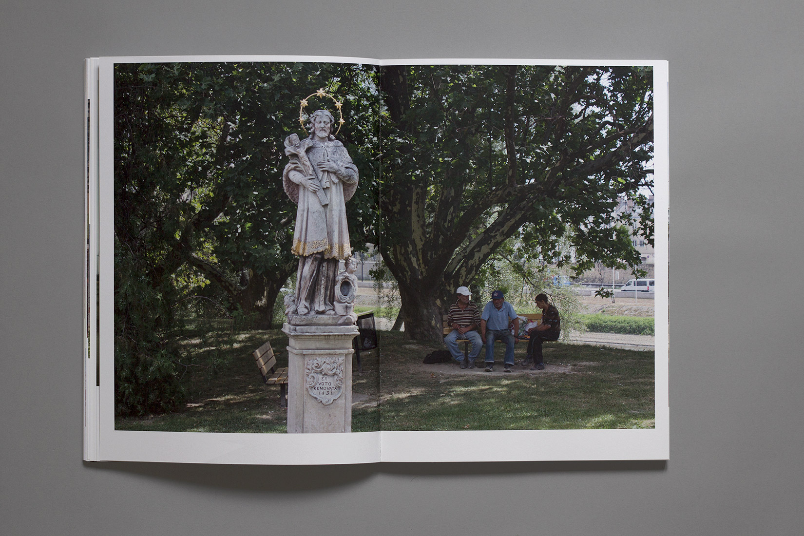 Study trip, book, Győr, statue, christ, bench, tree